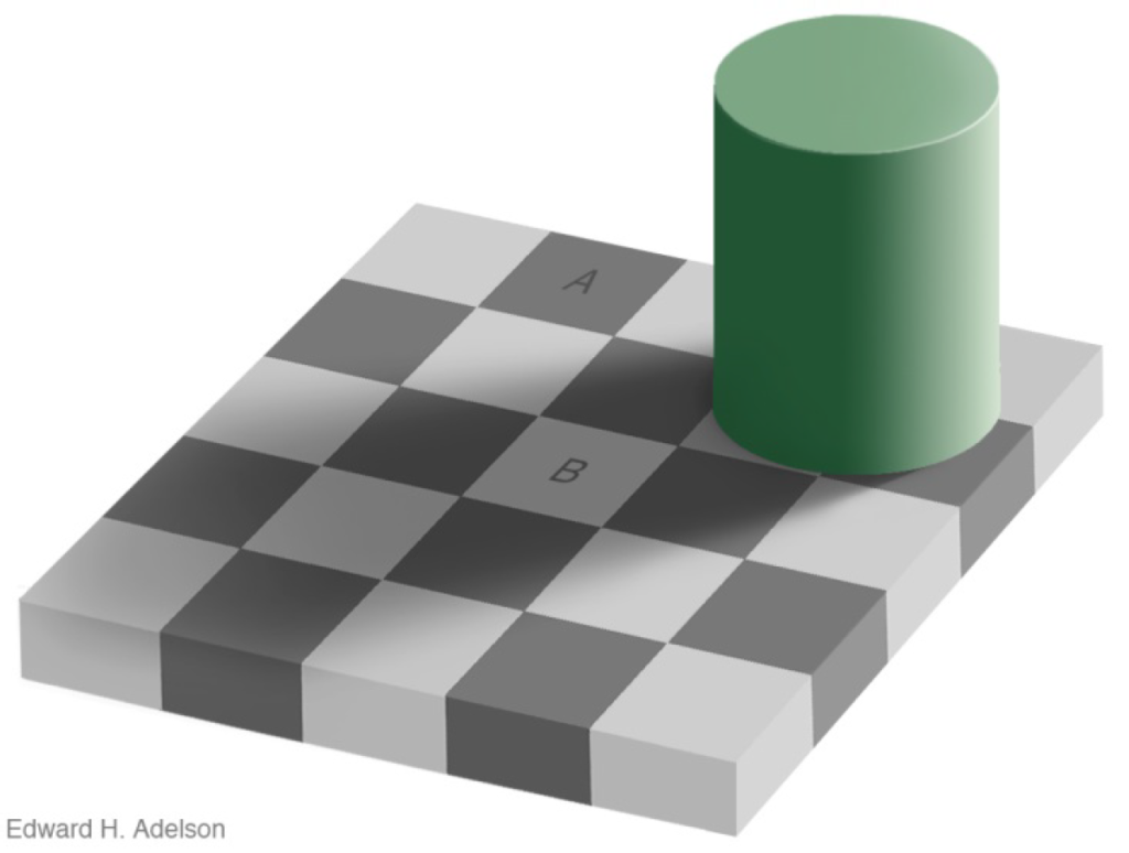 Täuschung Wahrnehmung verzerrt falsch graue Fläche