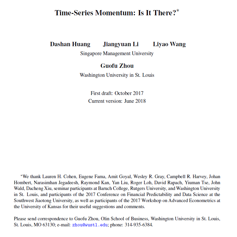 Time Series Momentum Signifikanz